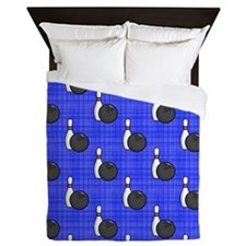 Royal Blue Bowling Ball Pattern Queen Duvet