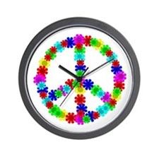1960's Hippie Flowers Peace Wall Clock