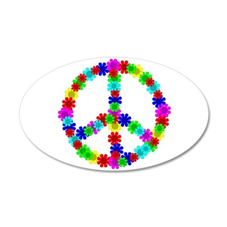 1960's Hippie Flowers Peace 20x12 Oval Wall Decal