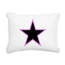 Pink Trim Black Star Rectangular Canvas Pillow