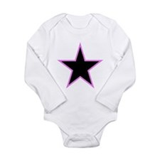 Pink Trim Black Star Body Suit