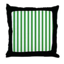 White and Green Stripes Throw Pillow