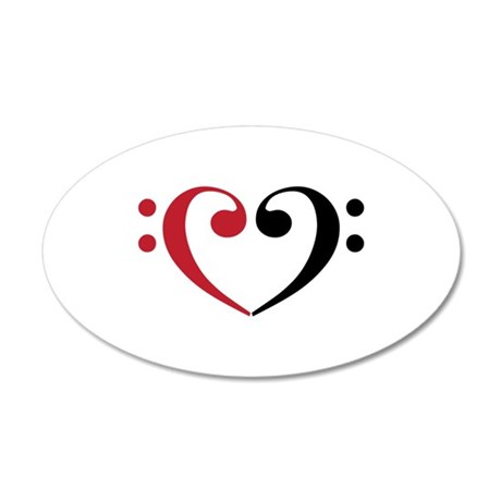 Bass Clef Heart Wall Decal