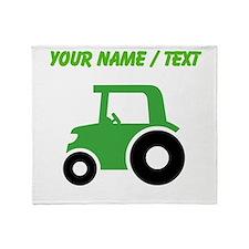 Custom Green Tractor Throw Blanket