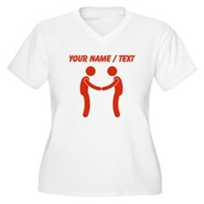 Custom Shaking Hands (Red) Plus Size T-Shirt