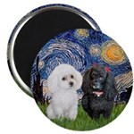 "Starry / Poodle (white) 2.25"" Magnet (10 Magn"