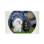 Starry / Poodle (White) Rectangle Magnet