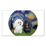 Starry / Poodle (White) Sticker (Rectangle)
