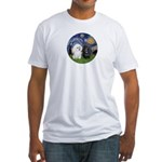 Starry / Poodle (White) Fitted T-Shirt