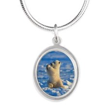Cute Polar Cub Silver Oval Necklace