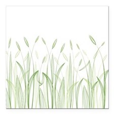 "Delicate Grasses Square Car Magnet 3"" x 3"""