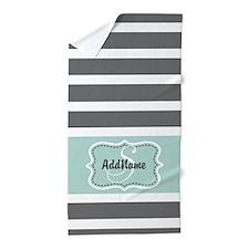 Gray and Mint Stripes Monogram Beach Towel