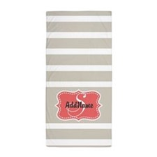 Beige Coral Stripes Monogram Beach Towel