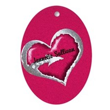 Pink Heart Arrow Personalized Ornament (Oval)