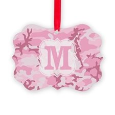 Monogram Pink Camouflage Ornament