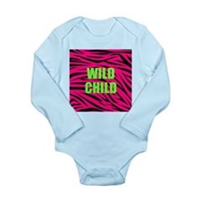 WILD CHILD Pink and Green Zebra Stripes Body Suit