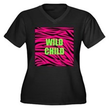 WILD CHILD Pink and Green Zebra Stripes Plus Size