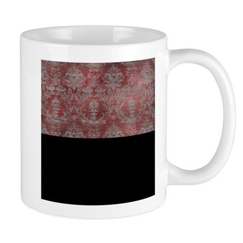 Red Antique Vintage Damask Mugs