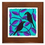 Two Crows on blue Framed Tile
