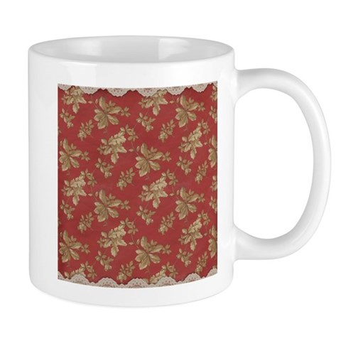 Vintage Antique Victorian Red Gold Lace Leaves Mug