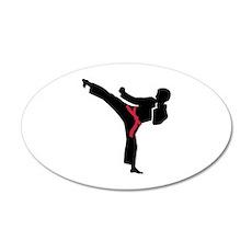 Martial arts Karate kick 20x12 Oval Wall Decal