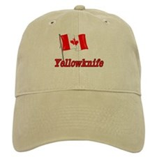 Canada Flag - Yellowknife Text Baseball Cap