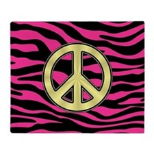 HOT PINK ZEBRA GOLD PEACE Throw Blanket