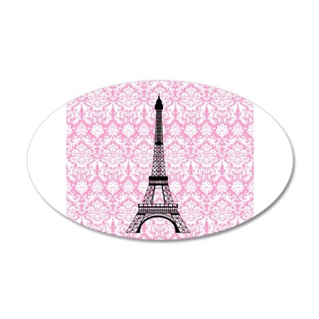 Eiffel Tower on Pink Damask Wall Decal