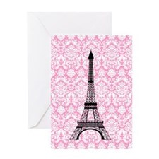 Eiffel Tower on Pink Damask Greeting Cards