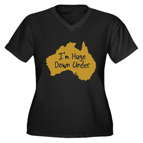 I'm Huge Down Under Womens Plus Size V-Neck Dark
