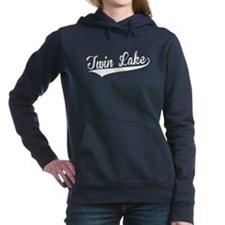 Twin Lake, Retro, Women's Hooded Sweatshirt