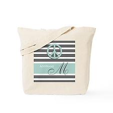 Peace Charcoal Gray Mint Monogram Tote Bag