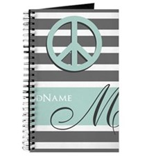 Peace Charcoal Gray Mint Monogram Journal