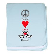Peace Love Skunks baby blanket