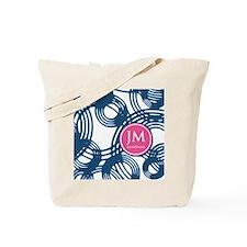 Custom Monogram Navy Pattern Tote Bag