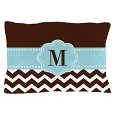 Brown Blue Chevron Monogram Pillow Case