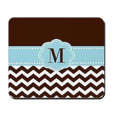 Brown Blue Chevron Monogram Mousepad