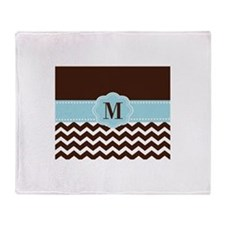 Brown Blue Chevron Monogram Throw Blanket