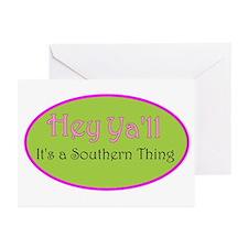 hey Ya'll pinkgreem Greeting Cards (Pk of 10)
