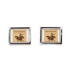 Customizable Knight on Horse Rectangular Cufflinks