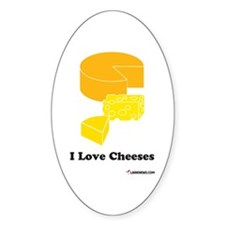 I Love Cheeses Oval Decal