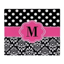 Pink Black Dots Damask Monogram Throw Blanket