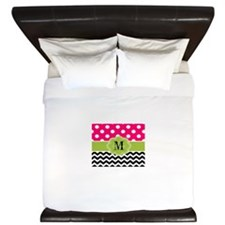 Pink Green Dots Chevron Personaized King Duvet