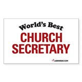 World's Best Church Secretary Sticker (Rectangular