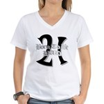 Born To Be 21 Women's V-Neck T-Shirt