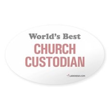 World's Best Church Custodian Oval Decal