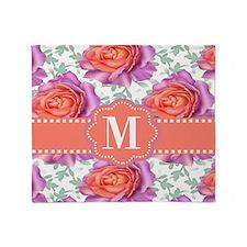 Purple Coral Roses Monogram Throw Blanket