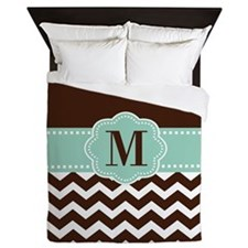 Brown Green Chevron Monogram Queen Duvet