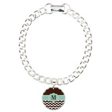Brown Green Chevron Monogram Bracelet