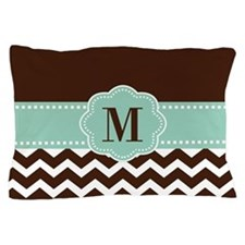 Brown Green Chevron Monogram Pillow Case